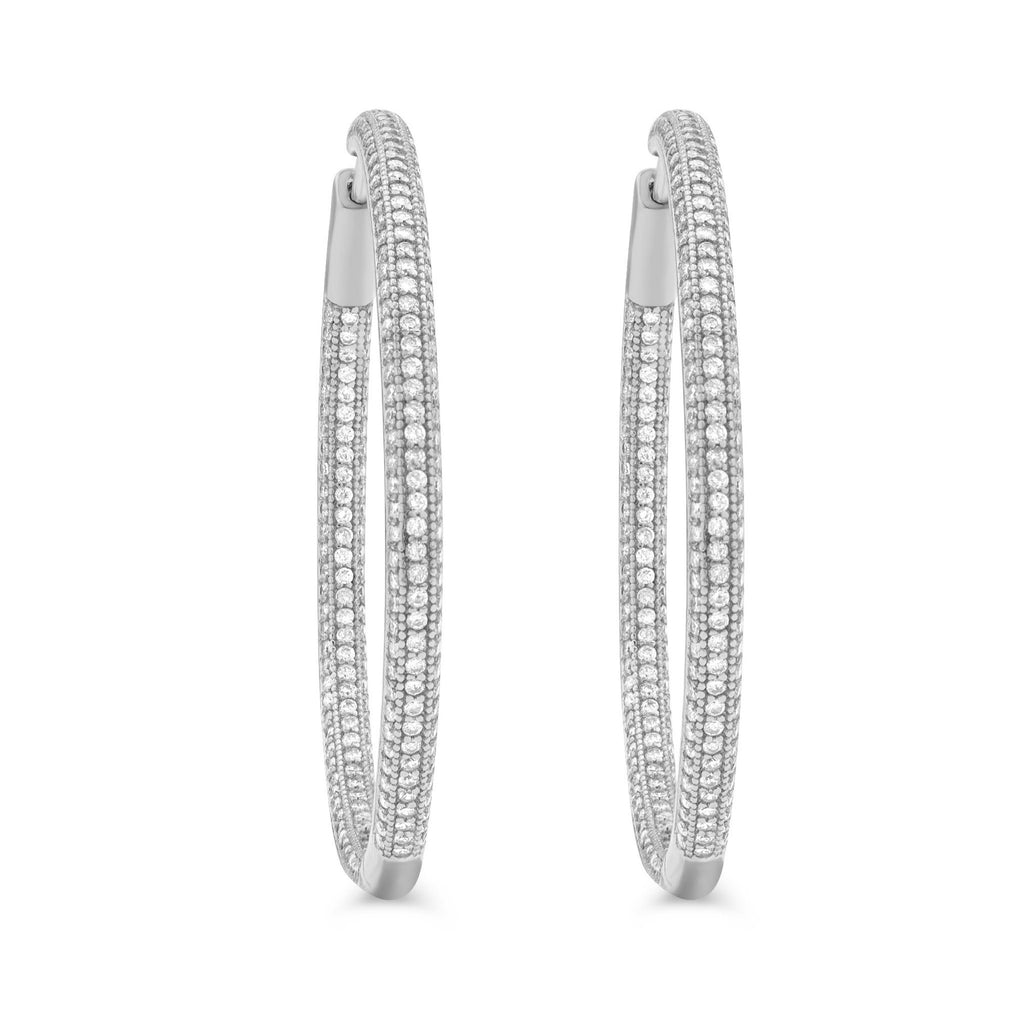 Shop large pave sterling silver hinged hoop earrings  from Camille Jewelry. Free shipping within the USA
