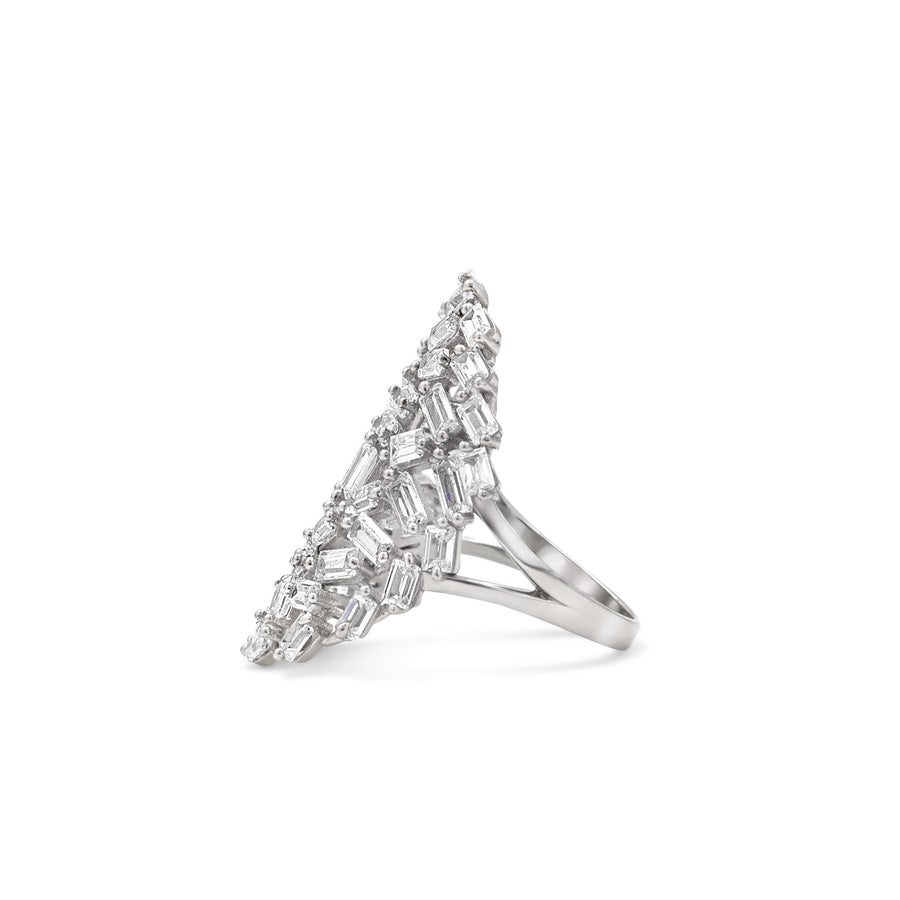 Camille Jewelry - Baguette style cocktail ring in sterling silver makes a wow statement!