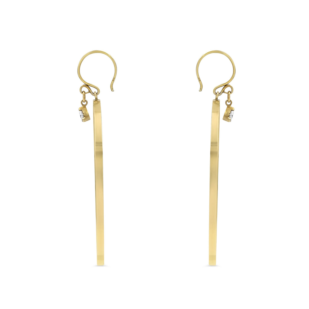 Camille Jewelry- 14K gold filled hoop earrings with trillion stone charm. Perfect everyday hoop earring style! Hand made in NYC. Free shipping with the USA