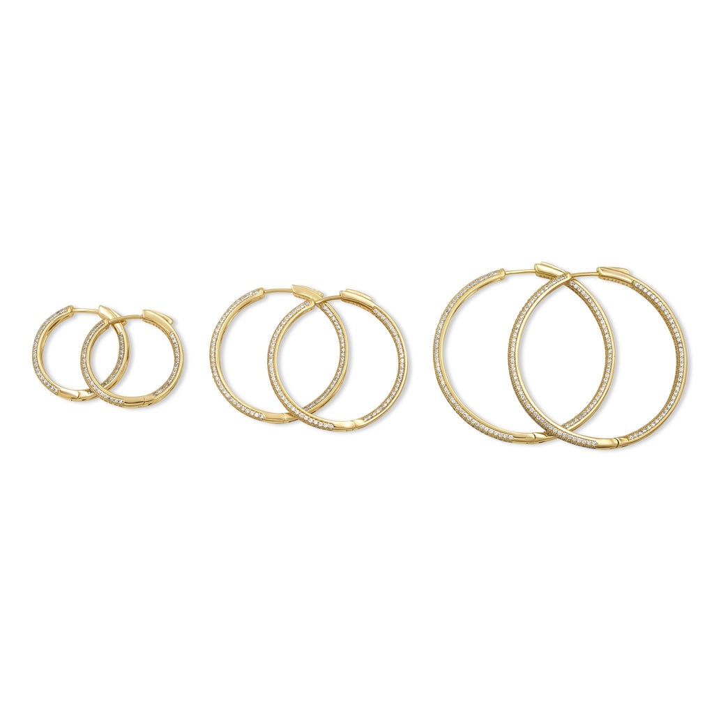Camille Jewelry - Side view of gold pave hinged hoop earrings. Ranges in sizes small, medium and large. Free shipping USA