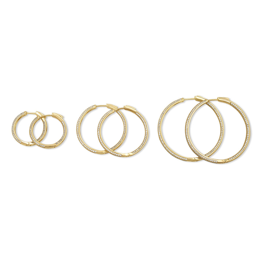 Gold pave hoops sizes ranging from small to large from Camille Jewelry