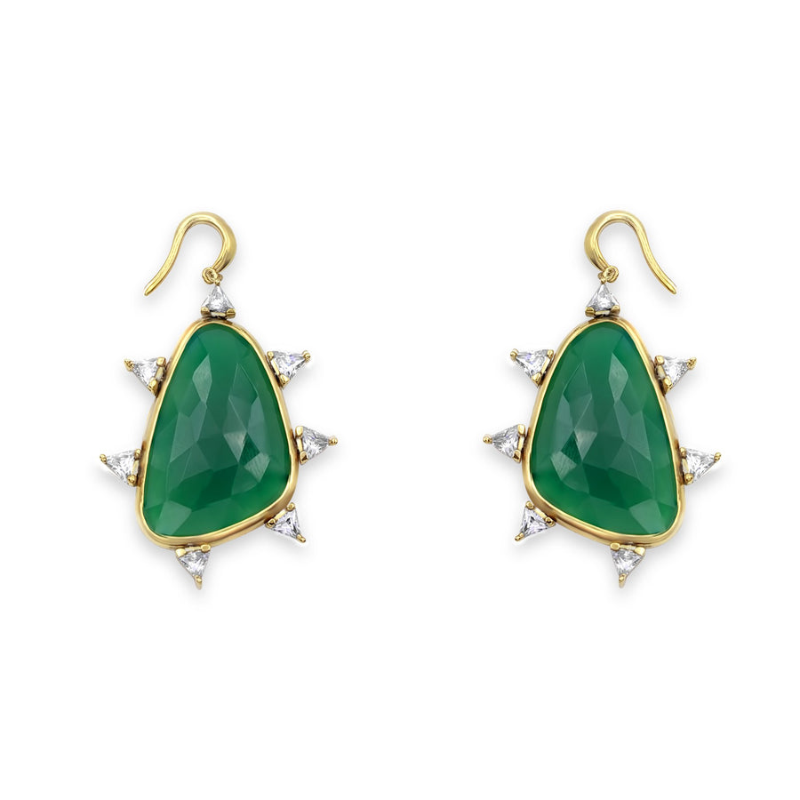 Camille Jewelry- Shop Women's fashion jewelry. Handmade green agate starburst earrings in 18K gold plated sterling silver. Hand crafted in NYC. Free shipping USA