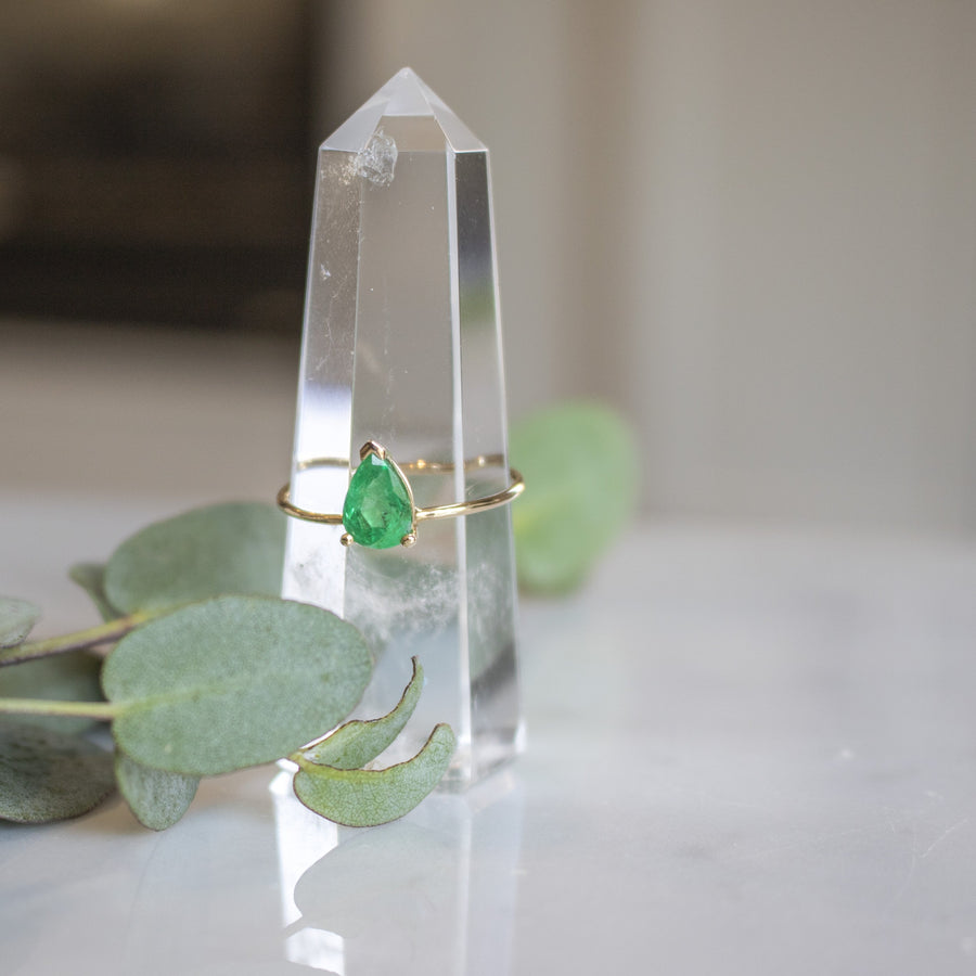 Delicate Pear shaped emerald stone ring in 14K gold | Shop Camille Jewelry
