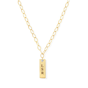 Camille Jewelry - Customize your initials or name on our large plaque best seller necklace. FREE shipping on all USA orders