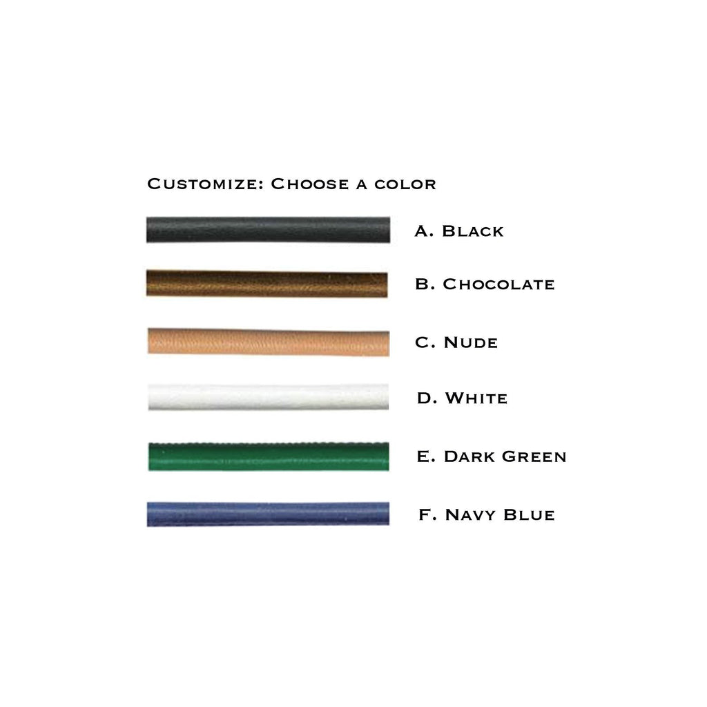Camille Jewelry - Theia collection, italian leather color chart. Handmade in NYC. Free shipping USA