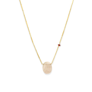 Camille Jewelry - Light tourmaline stone with rondel accent on gold filled chain.