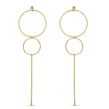 Delicate double hoop long statement earring with cz accent | Camille Jewelry