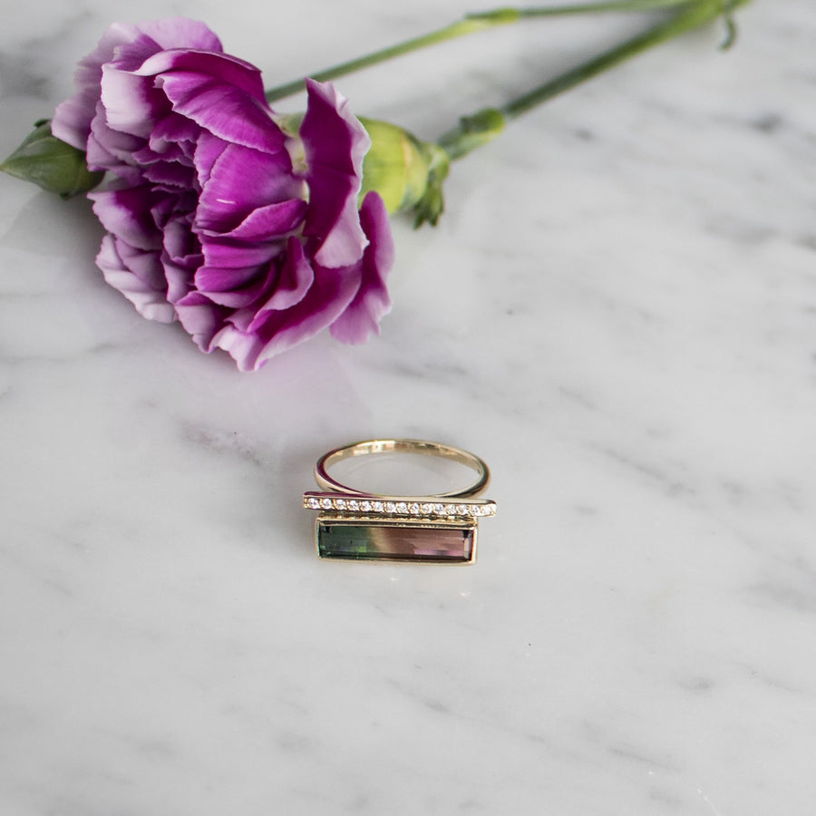 Luna Ring | 14K Gold and diamond bar ring with watermelon tourmaline stone | Camille Jewelry