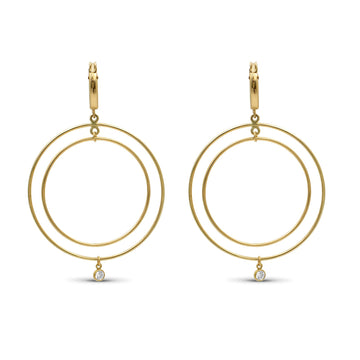 Camille Jewelry - double hoop gold filled earrings with  glitz accent