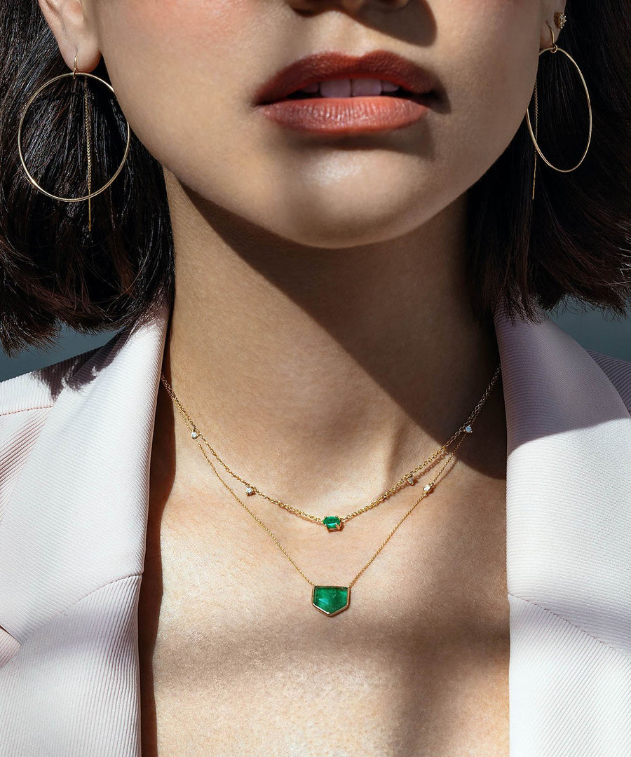Camille Jewelry - Gold and diamond emerald station necklace