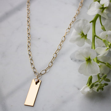Personalize your oval link plaque gold filled necklace from Camille Jewelry. Free shipping.