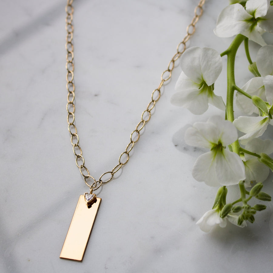 Personalize your long rectangular link plaque gold filled necklace from Camille Jewelry. Free shipping.