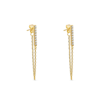 Camille Jewelry - Pave bar chain swag earring in gold plate over sterling silver.