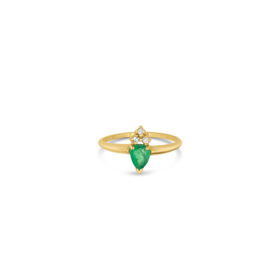 Pear shaped emerald and triple diamond ring in 14K yellow gold | Camille Jewelry