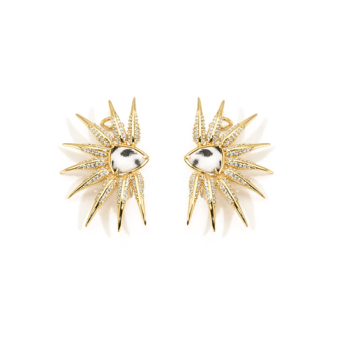 Camille Jewelry - Phoenix Collection, statement earrings. Gold plated with handset cubic zirconia pave and hand cut genuine zebra jasper stone. Free shipping USA