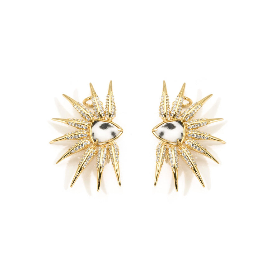Gold plated wing designed earrings from the Phoenix Collection. Shop Camille Jewelry