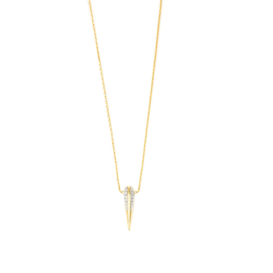 Gold plated necklace with signature bird beak in cubic zirconia| Camille Jewelry | Free Shipping