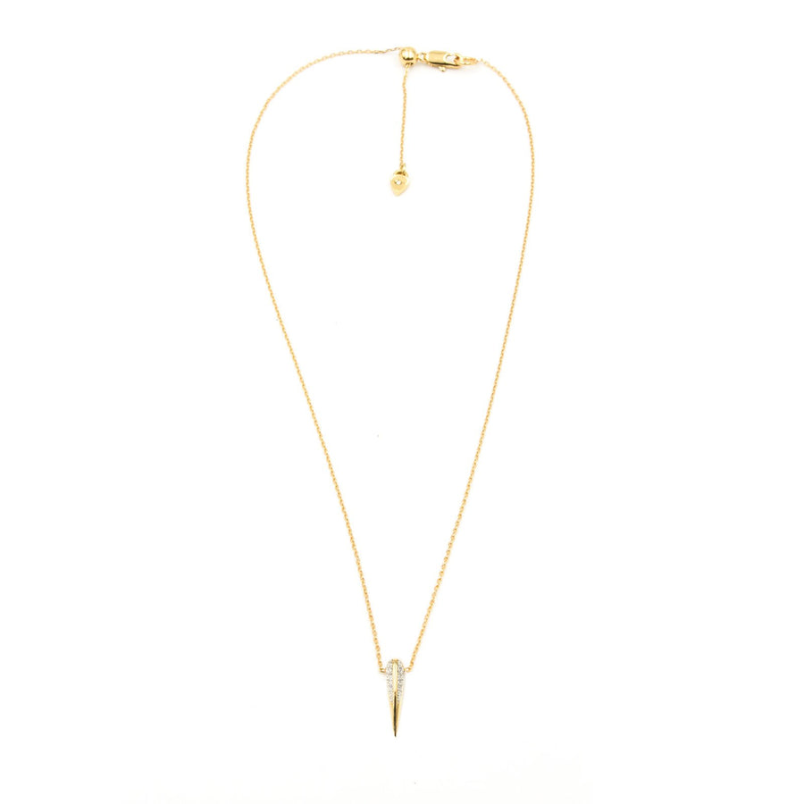 Small beak gold plated necklace with cubic zirconia| Camille Jewelry