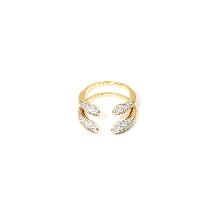 Camille Jewelry - Phoenix Collection, signature bird beak design stack rings, gold plated in cubic zirconia. sold as set of 2.  free shipping.
