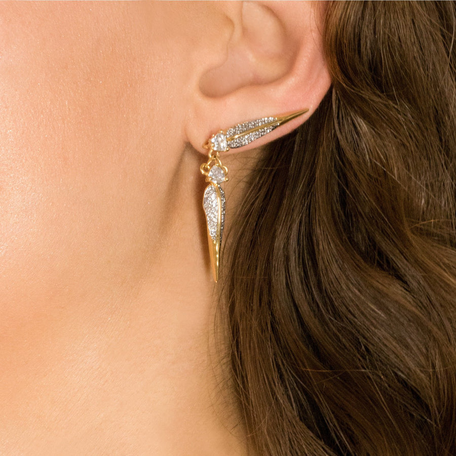 Unique gold plated ear crawler bird beak earring design from Camille Jewelry