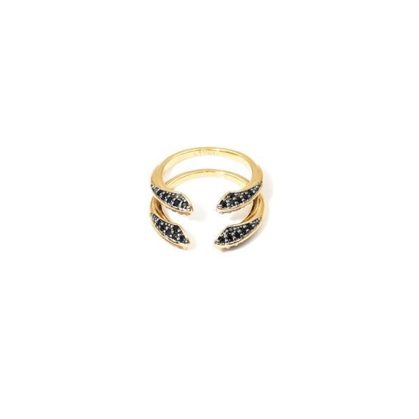 Camille Jewelry - Phoenix Collection, signature bird beak design stack rings, gold plated in black spinel.  free shipping.