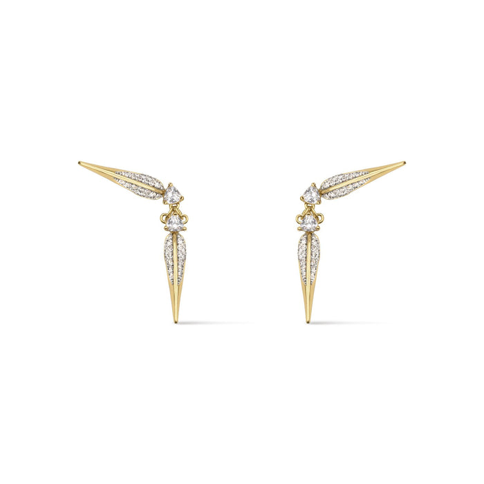 Camille Jewelry- Phoenix collection, elegant ear crawler design, gold plated with handset cubic zirconia. Handmade in NYC, Free shipping