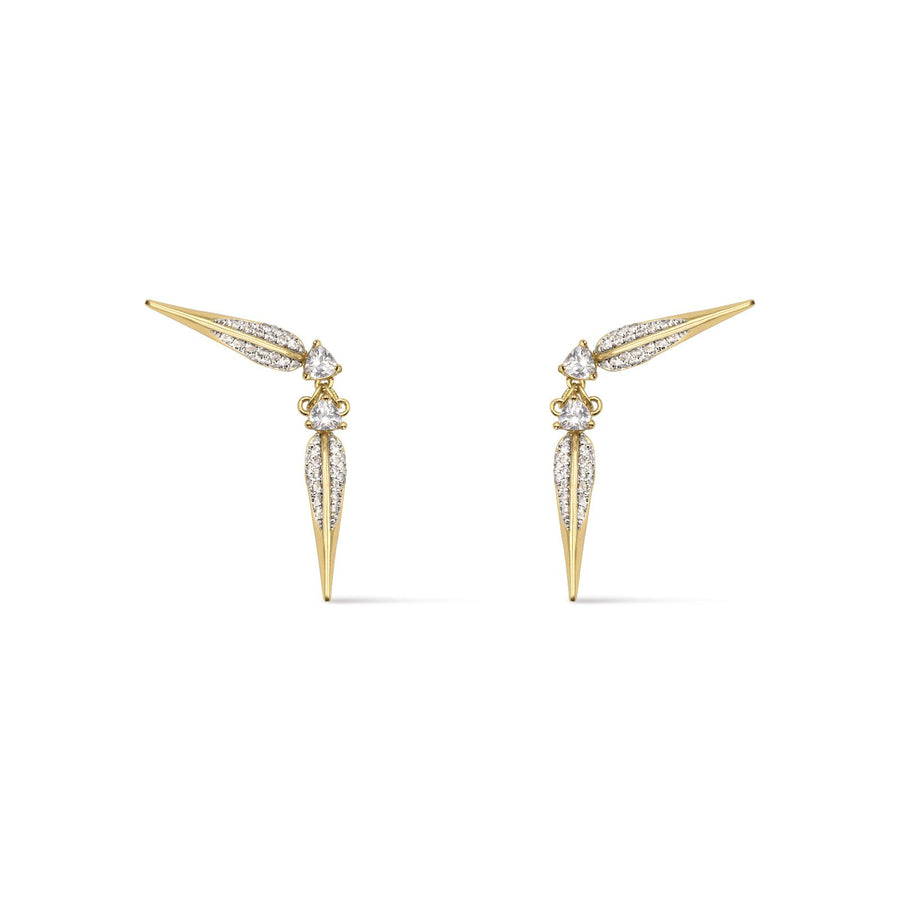 Elegant ear crawler beak design in gold plated with handset cubic zirconia. Shop Camille Jewelry