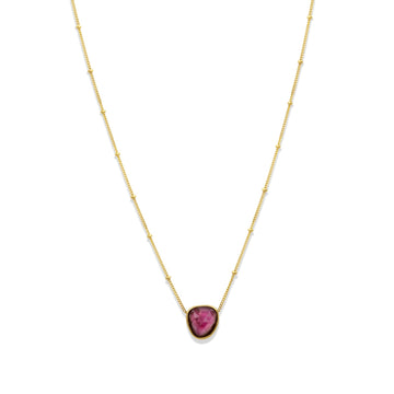 Camille Jewelry - pink tourmaline and black pendant with gold filled chain