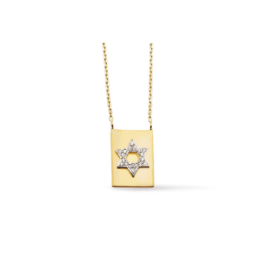 Camille Jewelry - Star of david, 18K gold vermeil modern scapular necklace with cubic zirconia. Free Shipping