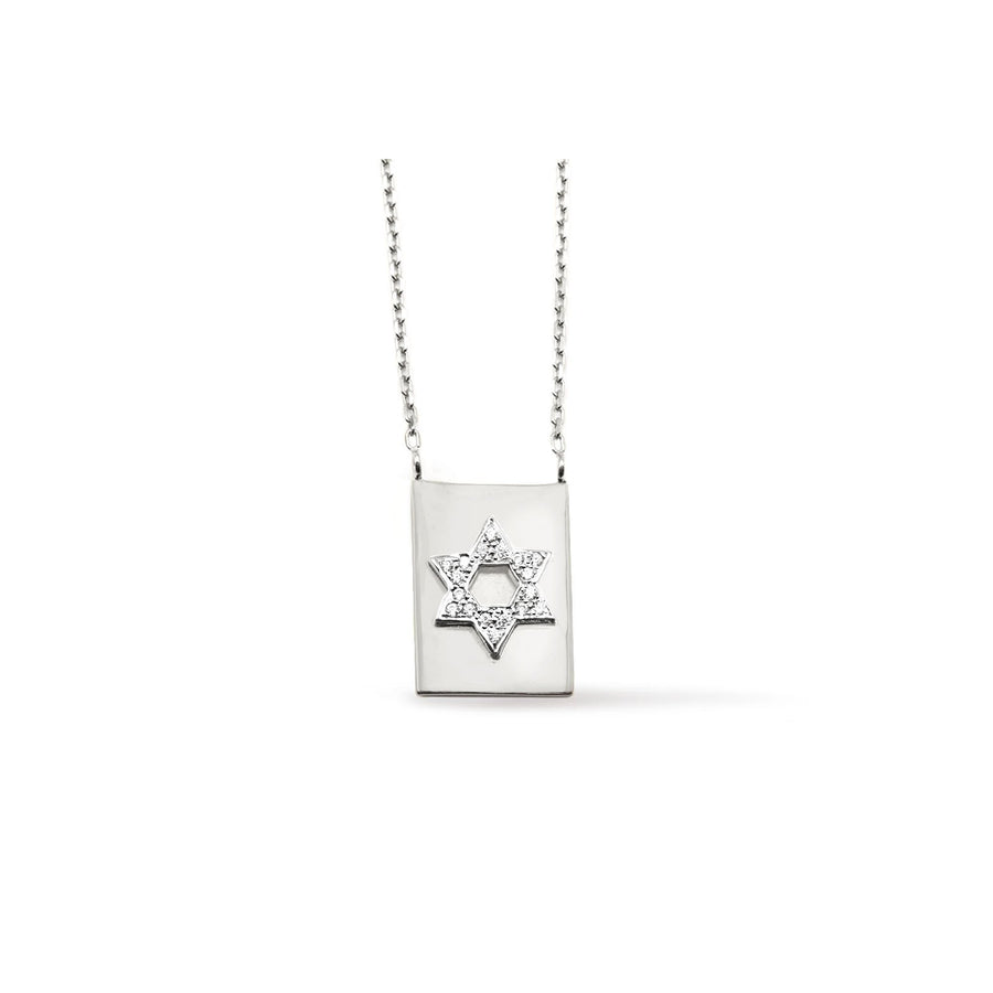 Camille Jewelry - Star of david, sterling silver modern scapular necklace with cubic zirconia. Free Shipping