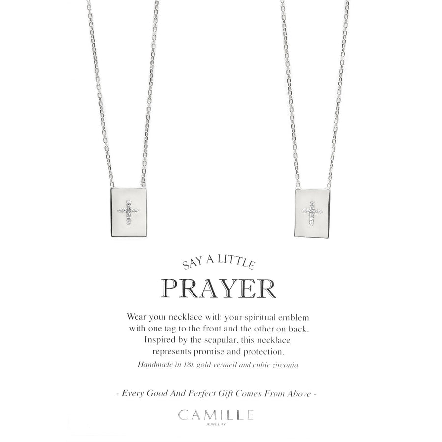 Camille Jewelry - Pave cross sterling silver scapular necklace with cubic zirconia. Free Shipping