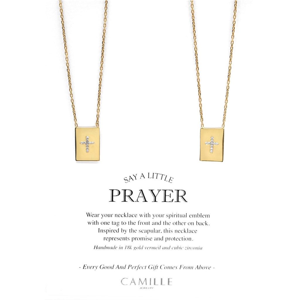 Camille Jewelry -  Pave cross 18K gold vermeil modern scapular necklace with cubic zirconia. Free Shipping