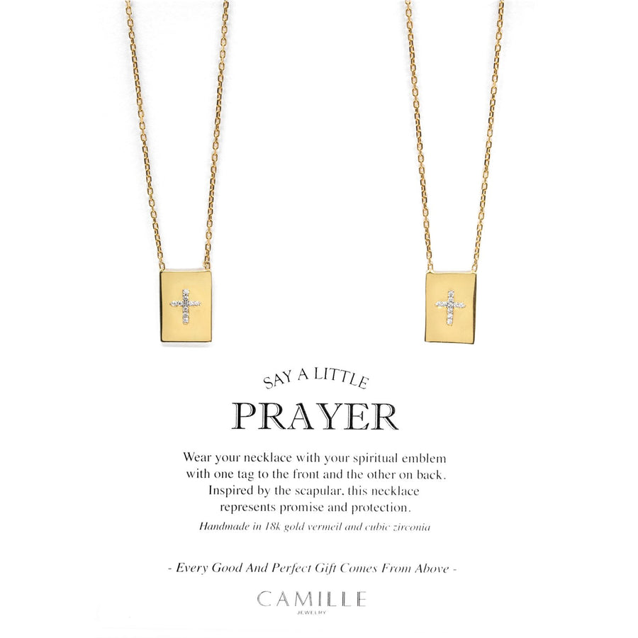Shop Spiritual gifts | Gold Vermail scapular necklace with pave cross | Camille Jewelry