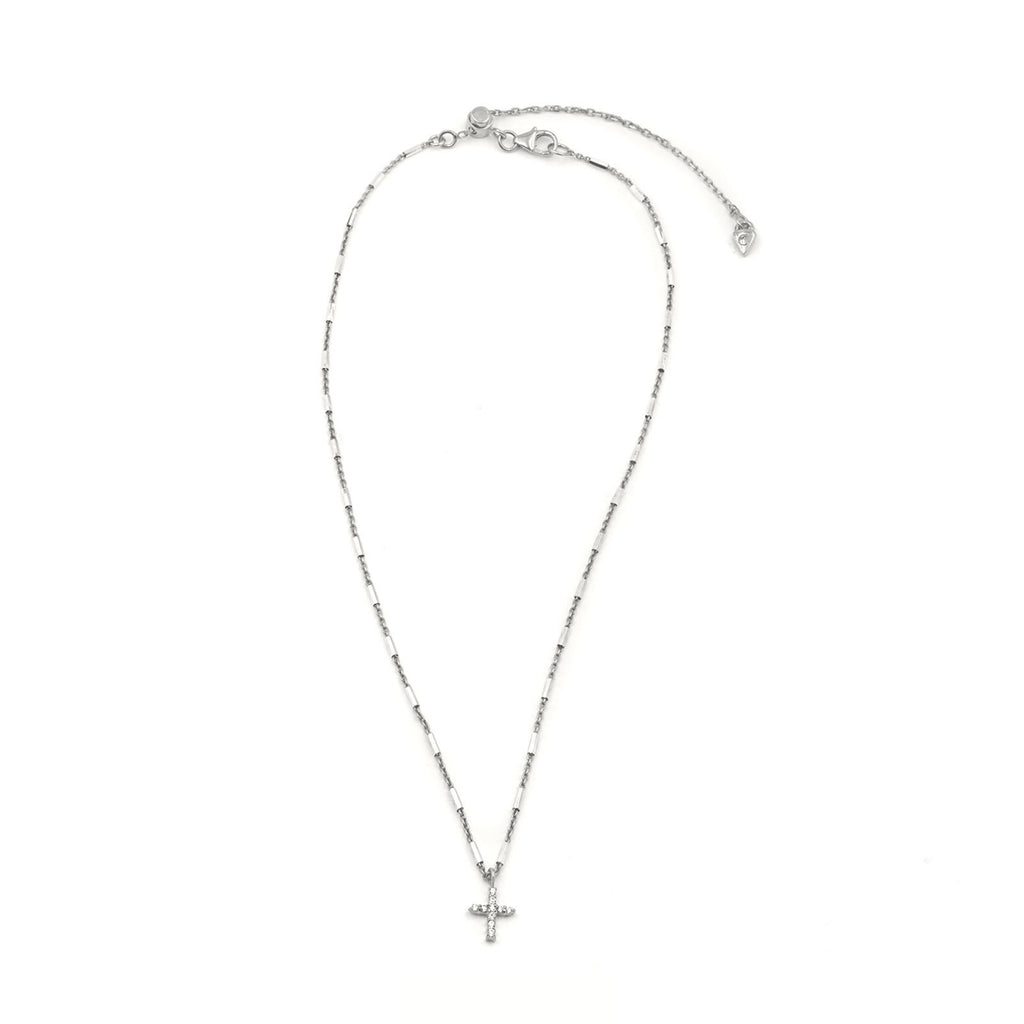 Camille Jewelry - Say a little prayer collection - pave cross full image - Show your faith, express your love and count your blessings! Unique, delicate and perfect for a gift!  Faceted skinny tube chain in sterling silver with pave cross in cubic zirconia. Designed with our signature push button slider to adjust length of necklace. free shipping!