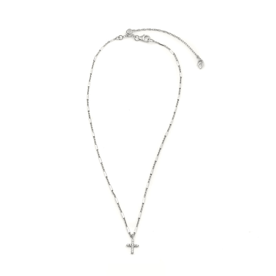 Sterling silver pave necklace on faceted tube chain from Camille Jewelry. FREE shipping