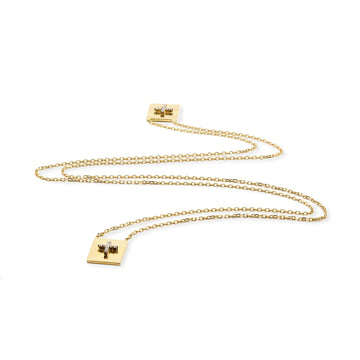 Pave cross 18K gold vermeil scapular necklace with cubic zirconia | Camille Jewelry