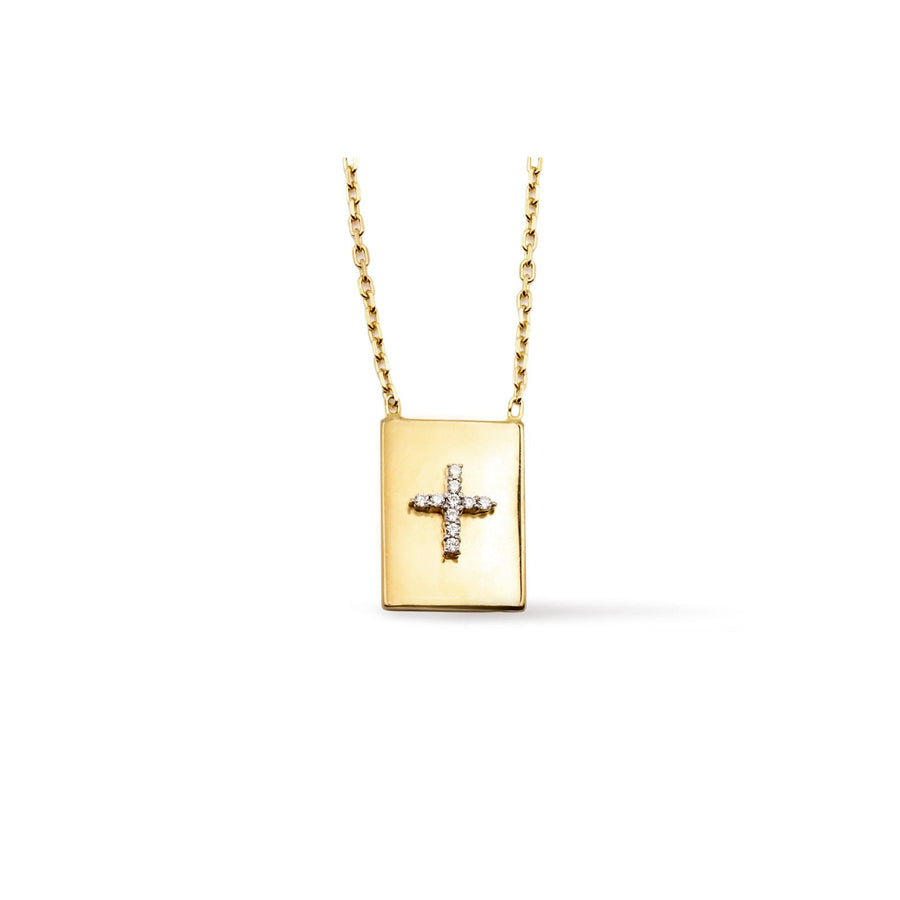 Pave cross 18K gold vermeil modern scapular necklace with cubic zirconia | Camille Jewelry