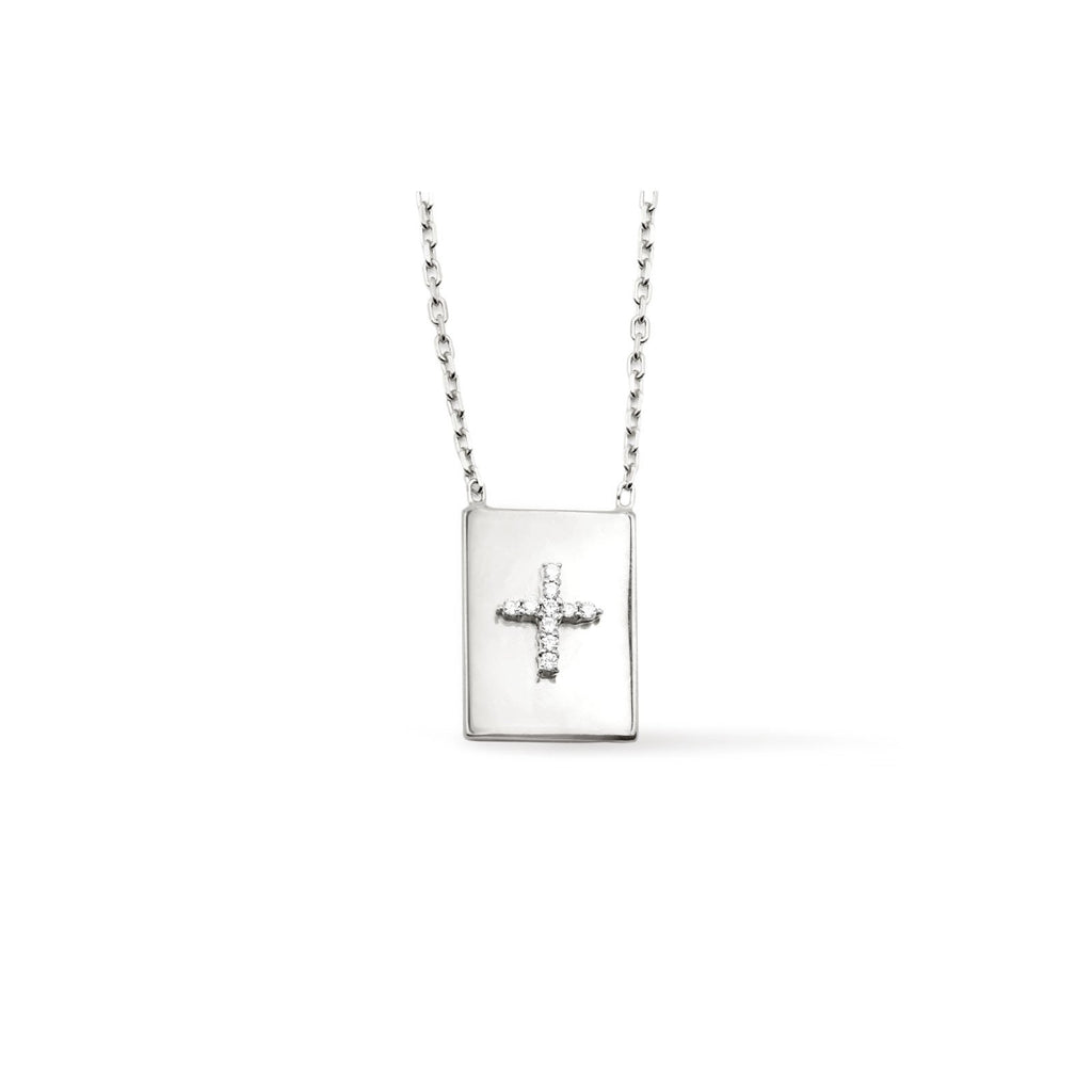 Camille Jewelry - Pave cross sterling silver modern scapular necklace with cubic zirconia. Free Shipping