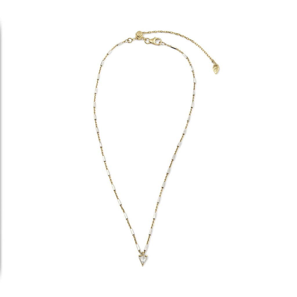 Camille Jewelry - Say a little prayer collection. Cubic Zirconia trillion mini gold plated pendant, faceted delicate chain. Made in NYC, Free Shipping USA