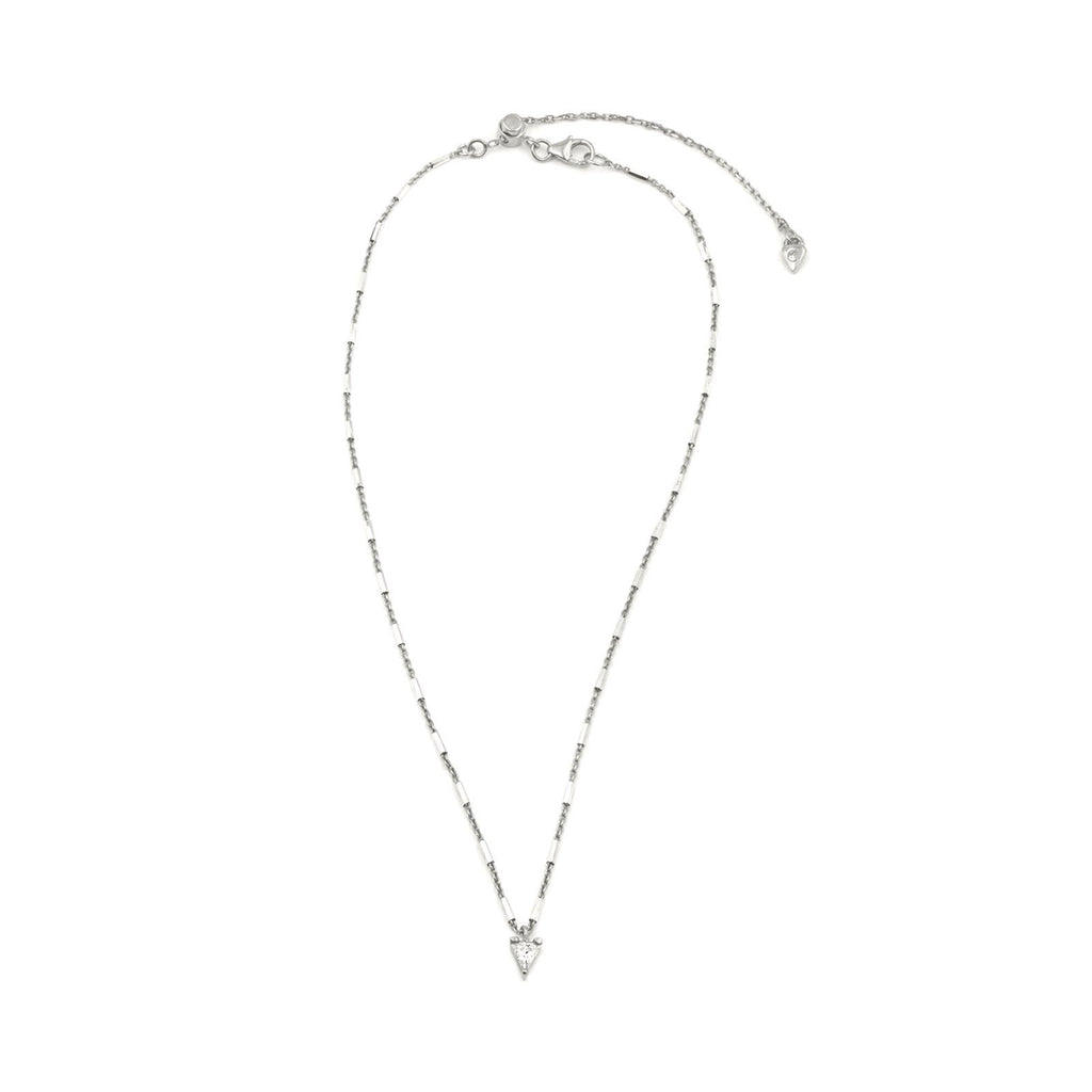 Camille Jewelry - Say a little prayer collection. Cubic Zirconia trillion mini sterling siver pendant, faceted delicate chain. Made in NYC, Free Shipping USA