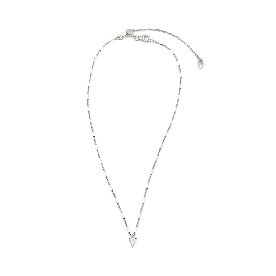 Sterling silver faceted tube chain necklace with trillion charm from Camille Jewelry.