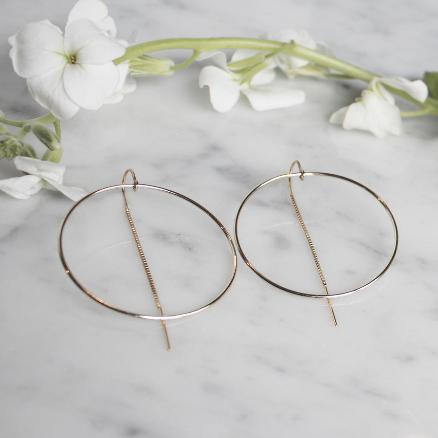 14K Gold Filled Hoop Earrings with Pull Through Design | Camille Jewelry