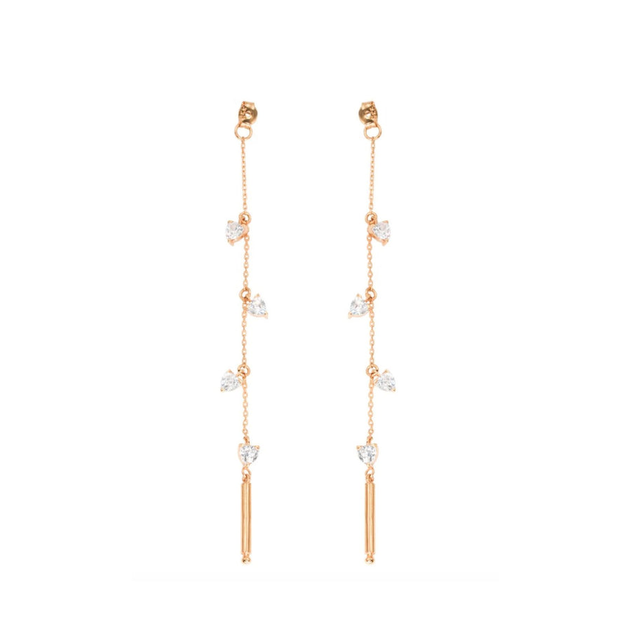 Rose Gold Vermeil and cz charm linear earring backs | Camille Jewelry