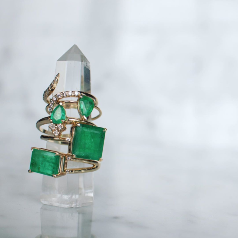Emerald stone rings with diamond accents | Camille Jewelry