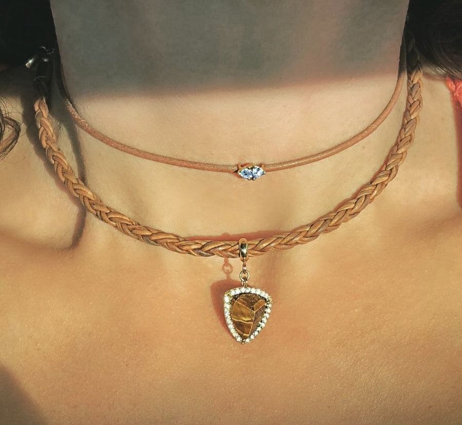 Camille Jewelry - Leather choker with trillion stones.