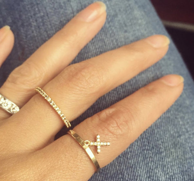 Vermeil & Sterling Silver Cross Charm Ring 1
