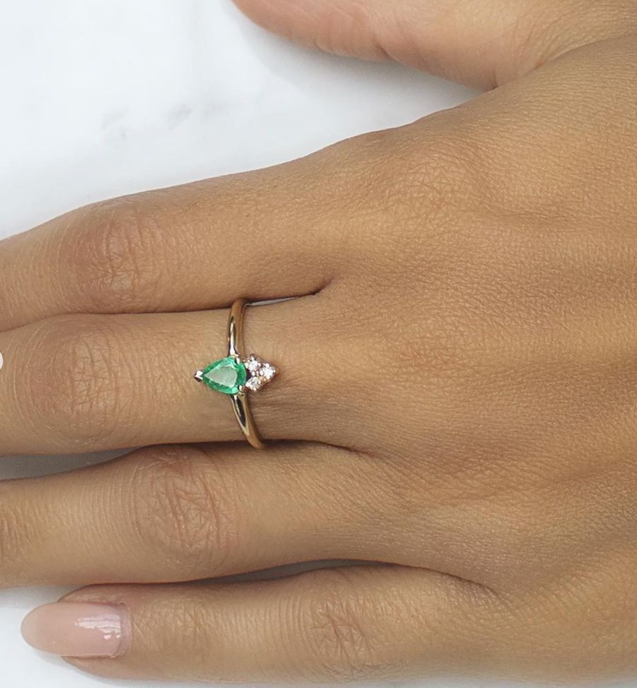 Venus - 14K Gold Emerald Pear Ring with Diamonds