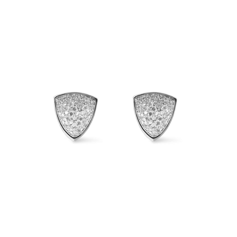 Large concave silver plated pave trillion shaped studs from Camille Jewelry. Free shipping USA