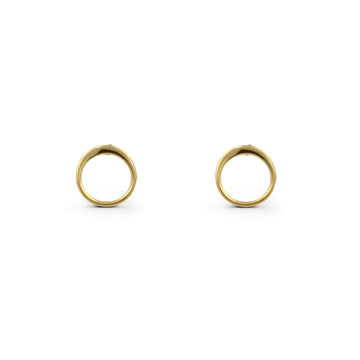 Camille Jewelry - Gold plated sterling silver mini open disk stud earrings.