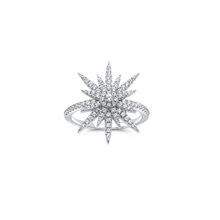 Camille Jewelry - sterling silver starburst ring in full pave